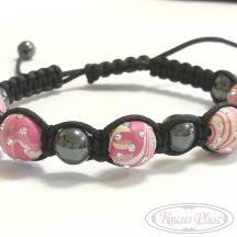 Karlánc rózsaszín és szürke gömbökkel