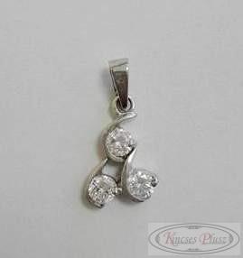 Ezüst ródiumos medál fehér kövekkel