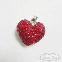 Ezüst medál piros köves szív