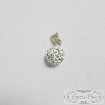 Ezüst medál fehér köves gömb