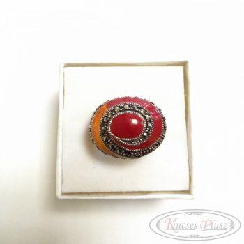 Ezüst gyűrű sárga-piros 58-as