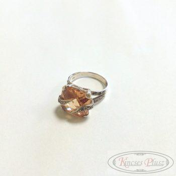 Ezüst gyűrű narancs köves 59-es