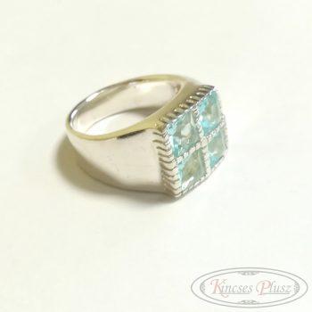 Ezüst gyűrű kék köves 54'