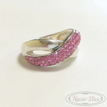 Ezüst gyűrű rózsaszín köves 53'
