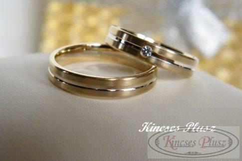 Köves kétszínű arany karikagyűrű
