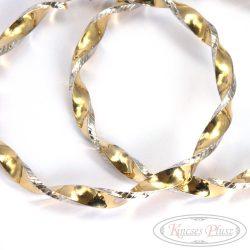 Nagy arany csavart karikafülbevaló fehér arany dísztítéssel 7cm átmérővel