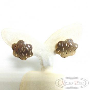 Arany fülbevaló francia kapcsos virág mintával