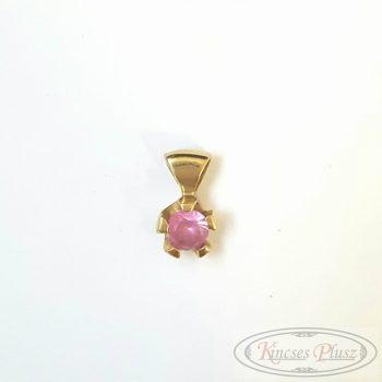 Felújított arany medál rózsaszín köves