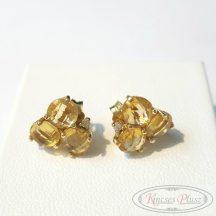 Felújított arany fülbevaló borostyán