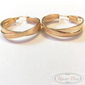 Arany fülbevaló dupla karika 3cm átmérő