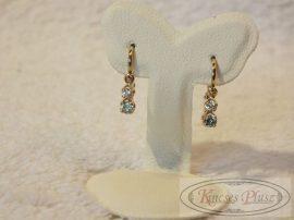 Arany kislány fülbevaló kék és fehér kővel
