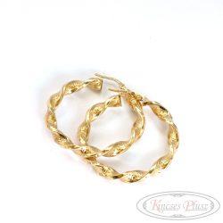 Arany csavart karikafülbevaló görög mintás 4cm átmérővel