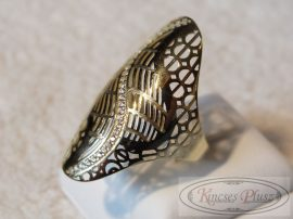 Arany gyűrű köves áttört hosszúfejű 58-as méret