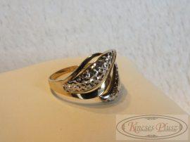 Arany gyűrű fehérarany díszítéssel 64-es méret