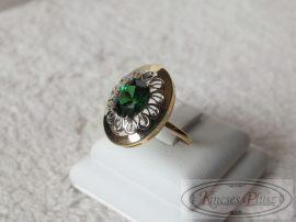 Arany gyűrű zöld köves 56-os méret