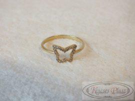 Arany köves pillangós gyűrű 56-os méret