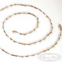 Bicolor fehér és sárga arany nyaklánc 55 cm-es