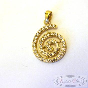 Szép csiga alakú köves arany medál