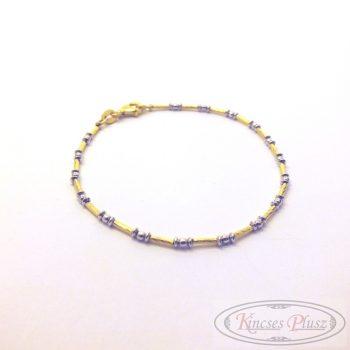 fehér és sárga arany arany karlánc 18 cm-es