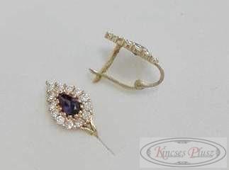 Arany fülbevaló lila köves csepp alakú