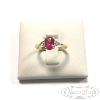 Arany gyűrű 55' piros kő