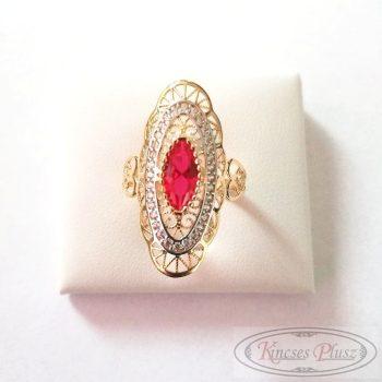 Arany gyűrű 60' piros köves