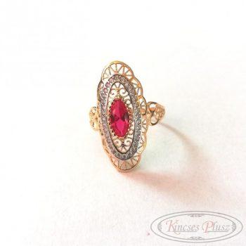 Arany gyűrű piros-fehér köves 62'