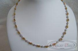 arany nyaklánc köves kétszínű 45 cm