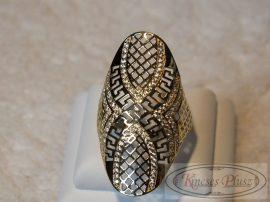 Hosszúfejű apró cirkónia köves arany gyűrű 58-as méret