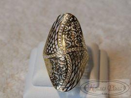 Hosszúfejű áttört cirkónia köves arany gyűrű 57 és feles méret