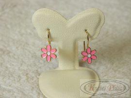 Bébi arany fülbevaló rózsaszínű virág