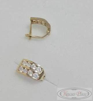 Arany fülbevaló dupla soros kövekkel