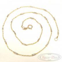 Arany lánc anker fehér arany díszítéssel 42cm