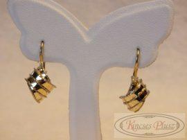Arany női fülbevaló pici fehér arany díszítéssel