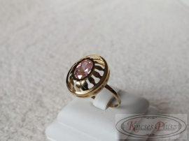 Arany rózsaszín köves gyűrű 61-es méret