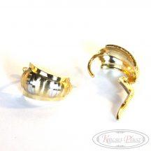 Francia kapcsos arany fülbevaló fehér arany díszítéssel